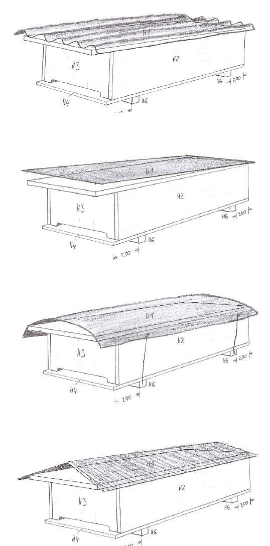 verschiedene Dachtypen